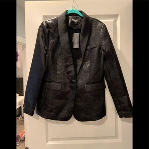 Rachel Zoe Black Metallic Tuxedo Jacket